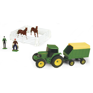 Farm Set with Forage Wagon & Dark Horses