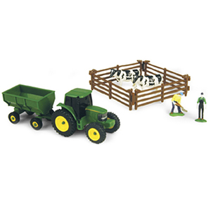 John Deere Farm Set W/ Gravity Wagon & Cows