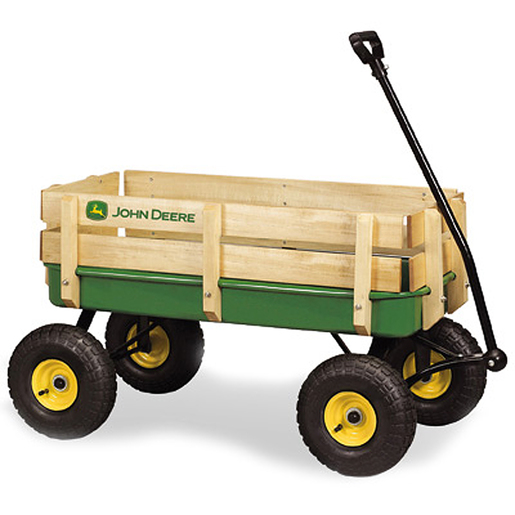 Green John Deere Wagon with Side Wood Stakes